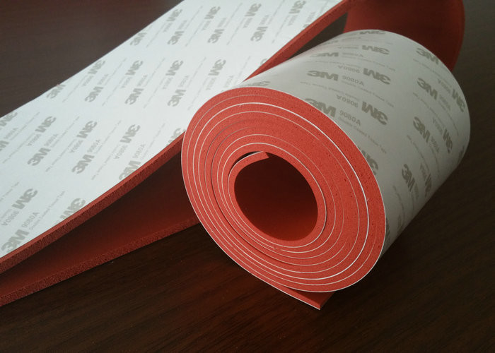 Flexible Dark Red Silicone Rubber Sheet With 3m Adhesive